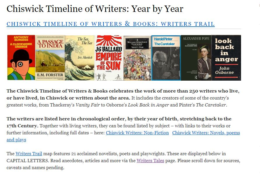 Chiswick Timeline of Writers and Books Hits 250 Entries