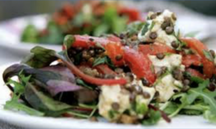 Puy Lentil, Red Pepper and Goat's Cheese Salad with Wild Garlic Pesto